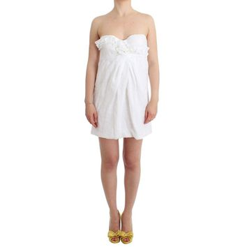 Ermanno Scervino Beachwear White Beach Dress Bustier Mini