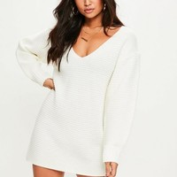 Missguided - White V Front Knitted Dress