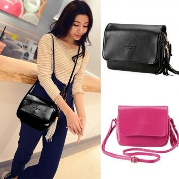 New Korean Fashion Women's Synthetic Leather Tassel Small Size Cross Shoulder Bag