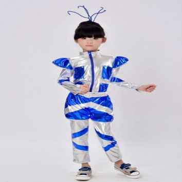 Children's costumes dance robot astronaut performance space dance show time for kids clothing unisex dance clothes 110-150cm
