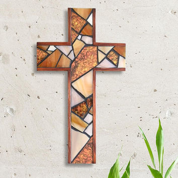 Mosaic Wall Cross, Rustic Wooden Cross, Stained Glass Cross, Copper Wall Cross, Baptism Wall Cross, Cross Wall Decor, Elegant Wall Cross