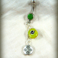 Belly Ring - Belly Button Jewelry - Green Evil Eye Belly Ring - Evil Eye Dangle Belly Ring - Bright Green and Silver Belly Ring