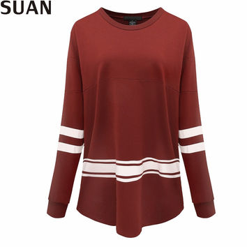 SUAN 2017 Fashion T-shirt Long Sleeve T Shirt Women Tops Female O-Neck Tumblr Blusa Womens Clothing Top Tees AAAAA Cotton