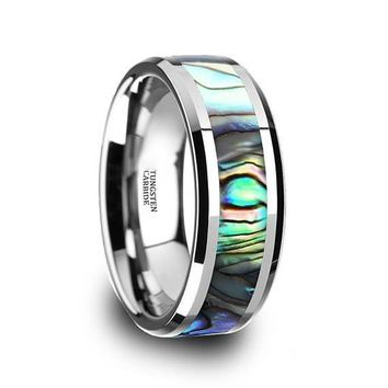 Beveled Tungsten Wedding Ring With Mother Of Pearl Inlay Polished Finish 4mm-10mm