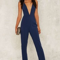 Rare London All Eyes Plunging Jumpsuit