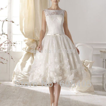 Vintage A Line Short Wedding Dresses with Cap Sleeves vestidos de noiva High Neck Lace Bridal Gowns
