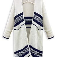 White Contrast Stripe Knitted Longline Cardigan