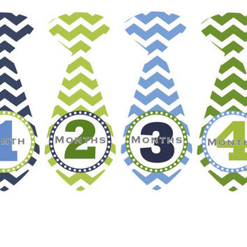 Monthly Onesuit Stickers Baby Month Stickers Boy Blue Green Chevron Tie Stickers Monthly Onesuit Sticker Ties Baby Shower Gift Photo Prop Quin