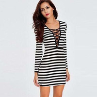 Striped Cross Lace Slim Dress B0013729