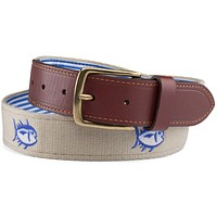 Embroidered Skipjack Belt in Sandstone Khaki by Southern Tide