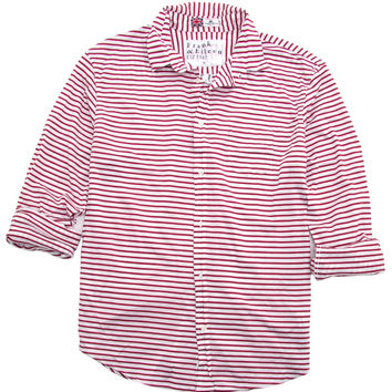 Frank & Eileen Luke Red and White Skinny Stripe Pique Knit Shirt