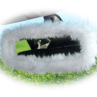 Snow white faux fur furry fluffy fuzzy rear view interior car mirror cover ivory cute pure plain halloween ghost snowy