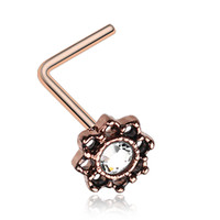Rose Gold Color Lotus Filigree Sparkle Icon L-Shaped Nose Ring - 20 G - Sold as a Pair
