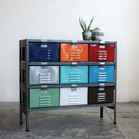 3 x 3 Vintage Locker Basket Unit, Marlow Edition, Multi-Color