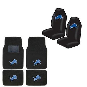 Licensed Official New NFL Detroit Lions Car Truck Seat Covers & Front Back Carpet Floor Mats