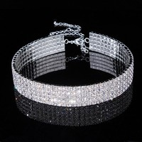 New Designed Luxury Rhinestone Crystal Choker Necklace