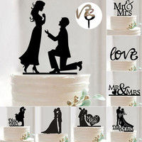 New Mr Mrs Wedding Decoration Cake Topper Acrylic Black Romantic Bride Groom Cake Accessories For Wedding Party Favors