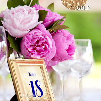 "5x7"" printable table numbers in navy blue & gold glitter"