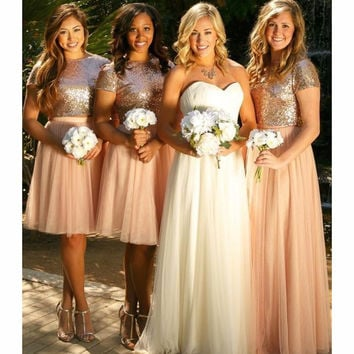 Cheap Two Pieces Of Sequined Chiffon Bridesmaid Dresses 2017 Sexy High Neck Short Sleeves Dress Wedding Guest Free Shipping