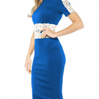 Blue Lace Accent Short Sleeve Slit Midi Bodycon Dress