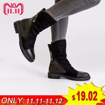 AIMEIGAO Fashion Suede Leather Boots For Women Faux Suede Flat Mid-Calf Boots Spring Autumn Women Boots Black Blue Shoes