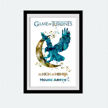 House Arryn watercolor print Game of Thrones poster Game of Thrones art print Home decoration Kids room wall art House Arryn wall decor W609