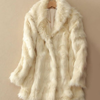 Long Sleeves Turn-Down Collar Faux Fur Coat