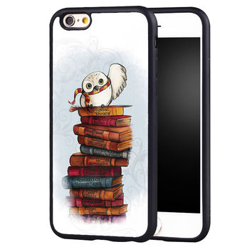 Book Owl Harry Potter Printed Soft TPU Black Skin Mobile Phone Cases Bags For iPhone 6 6S Plus SE 5 5S 5C 4 4S Back Shell Cover
