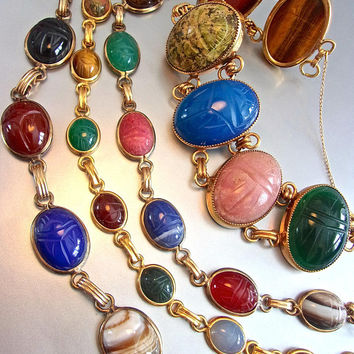 Lot of 4 Scarab Gold Filled Bracelets, Semi Precious Gemstones Multi Color, Vintage