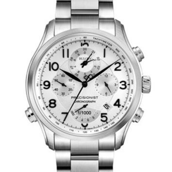 Bulova Precisionist Wilton Chrono Mens Watch - Silver/White Dial - Stainless