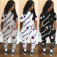 Champion Fashion Women Casual Full Logo Print Long Sleeve Top Pants Set Two-Piece Sportswear