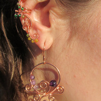 Green & Yellow Beaded Copper Wire Ear Cuff- Copper Wire Wrapped Ear Accessory, Embellishment- Handmade Jewelry