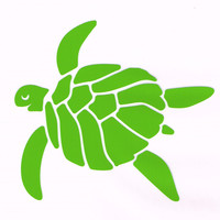 Happy Sea Turtle Car Decal Lime Green