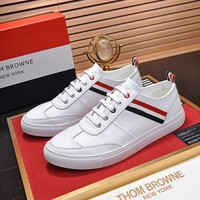 Top Quality Tb Thom Browne Men's Leather Fashion Low Top Sneakers Shoes Casual  mens Running Shoe Sport Shoes