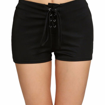 Diana Lace Up High Waist Shorts