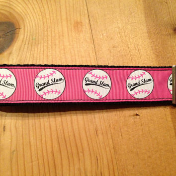 Pink Grand Slam Softball Keychain Wristlet by SweetKeeps on Etsy