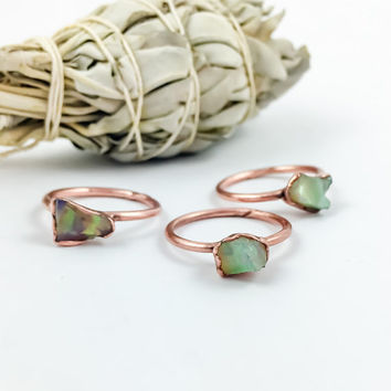 Raw Opal Ring | October Birthstone Ring | Welo Opal Ring |  Electroformed Opal Ring | Opal Ring | Raw Opal | Raw Stone Ring