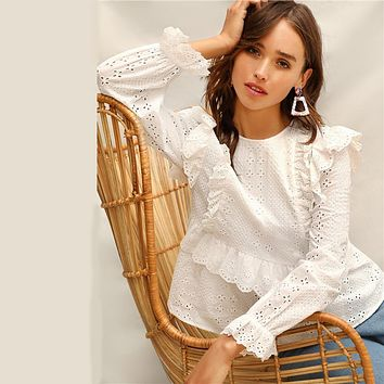 White Ruffle Trim Embroidered Eyelet Top Flounce Sleeve Lace Blouse Women Solid Scallop Front Boho Elegant Blouses