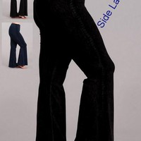 Chatoyant Mineral Wash Plus Size Pants - Black or Electric Blue