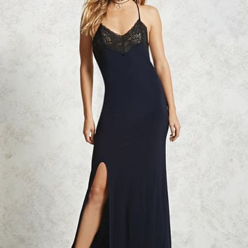 Lace-Insert Maxi Dress
