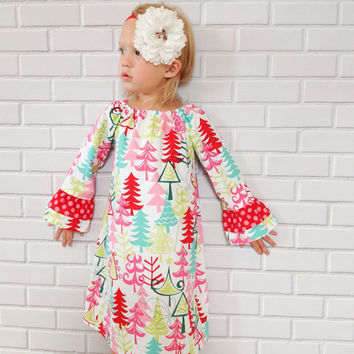 Girls Toddler Christmas Dress Red Green Boutique Clothing By Lucky Lizzy's