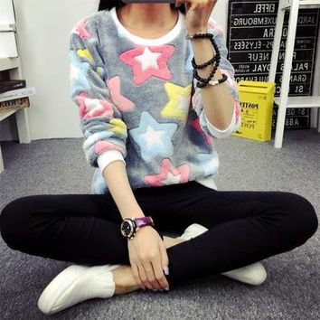 Stars Printed Outerwear Sweater Top a12215