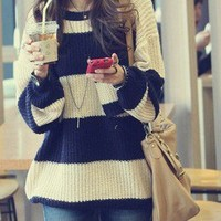 Retro Womens Striped Pullover Sweater Jumpers Knitting Knit Tops Crew Neck 6139