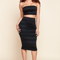 Ribbed Panel Pencil Skirt