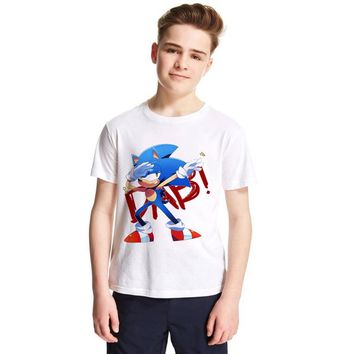 K330 Dabbing Sonic The Hedgehog Cartoon Dab Dance Children T Shirt Boy Girl Casual Fashion Tshirt Teens Summer Clothes Baby Tees