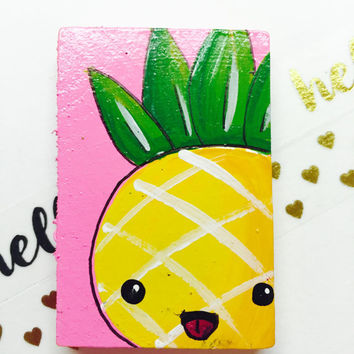 Kawaii Pineapple Magnet, Cute Pineapple Decor, Kawaii Decor, Hand Painted Magnet, Unique Decor, Japanese Pineapple, Food with Face