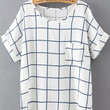 White and Blue Short Sleeve Plaid Pocket T-Shirt