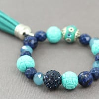 Blue and Teal Beaded Bracelet : Semi-Precious and Glass Beaded Bracelets, Turquoise, Pave Bead, Handmade in Canada, ArtisanTree