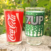 Vintage CocaCola & 7up glasses set of two by hellofacey on Etsy