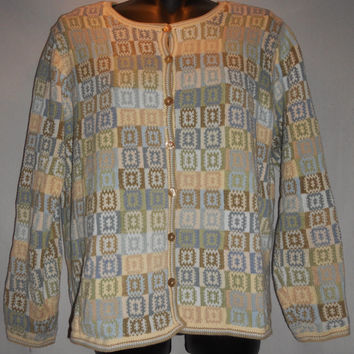 Vintage 80s Talbots Geometric Sweater Cardigan Blue Light Blue Tan Brown Light Yellow SIze Small